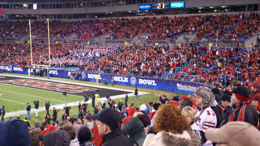 Fans take in the Belk Bowl.